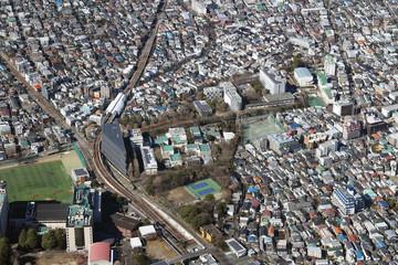東急大井町線緑が丘駅付近を空撮