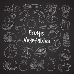 Wall Mural - Health food doodle vegetables and fruits hand drawn veggie food meal
