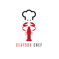 lobster and chef negative space vector concept