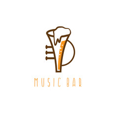 music bar vector concept with trumpet and beer
