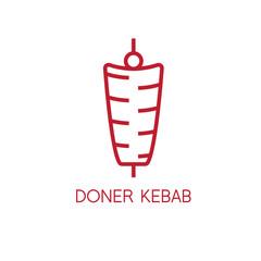 simple line art vector illustration of doner kebab
