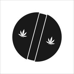 Marijuana medical pill simple , silhouette icon on background