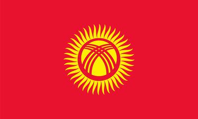 Vector of amazing Kyrgyzstan flag.