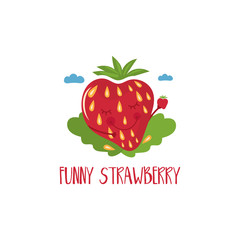 Cute cartoon strawberry with hands and eyes for kids theme.Vector illustration