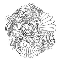 Vector Monochrome Background of Flora. Creative Composition. Hand Drawn Abstract Illustration