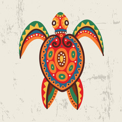 Decorative ornamental sea turtle Tribal ethnic
