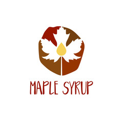 Abstract template logo design with maple leaf and drop. Vector illustration