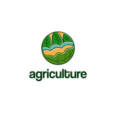 Abstract template logo design with agriculture theme. Vector illustration