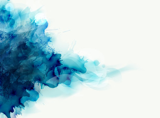 Wall Mural - Blue watercolor big blot spread to the light background. Abstract vector composition for the elegant design.