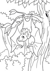 cartoon bat hanging on a branch