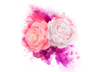 Elegance flowers bouquet of pink color roses. Composition with blossom flowers on the magenta artistic abstract background