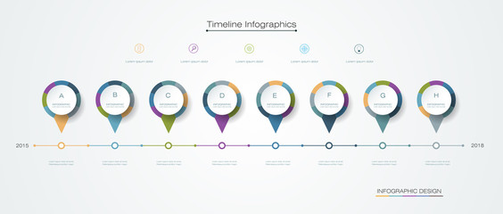 Vector infographics timeline template with label design, 8 options or steps. For content, business, process infographics, diagram chart, digital network, flowchart, process diagram, time line
