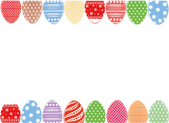 Easter eggs hang on a ribbon with bows. Greeting card or invitation for a holiday. Free space for text. Vector