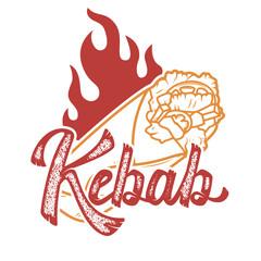 kebab. Handwritten lettering logo, label, badge. Emblem for fast food restaurant, cafe. Isolated on white background. Vector illustration.