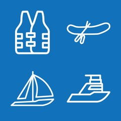 Set of 4 boat outline icons