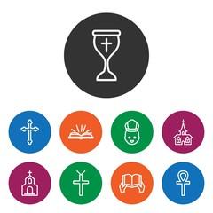 Set of 9 catholic outline icons