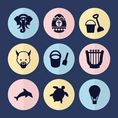 Set of 9 cartoon filled icons