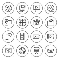Set of 16 camera outline icons