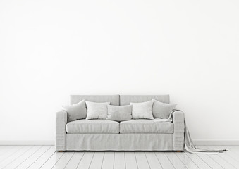 Simple and neutral interior wall mock up with grey fabric sofa, pillows and plaid on clear white background. 3D rendering.