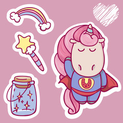 cute cartoon  unicorn set with magic wand, rainbow and some magic. Superhero character. perfect design for stickers, t-shirt, bag, cards or invitation design