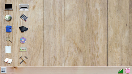office material icons on wooden plank background like a desktop wallpaper