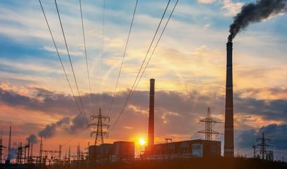 Twilight photo of power plant.