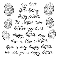 Set of hand drawn lettering phrases and ornament patterned eggs. Easter congratulations. Vector illustration.