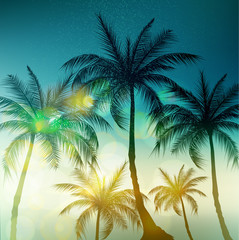 Palm trees, vintage toned and stylized. Vector illustration.EPS10