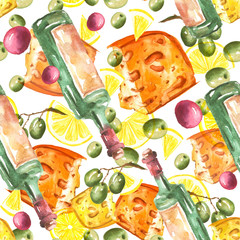 Seamless vintage watercolor pattern. Illustration - bottle with wine, grapes, olives, piece of cheese. Figure executed in watercolor on an isolated white background