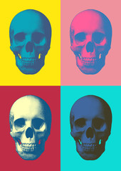 Colorful pop art skull in front view