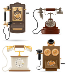 phone old retro set icons stock vector illustration