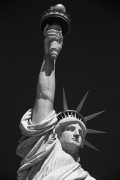 Statue of Liberty, black and white with black sky in New York