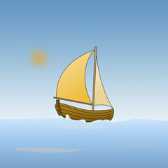 Cartoon of a boat in the sea