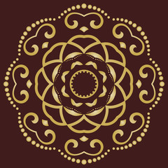 Round golden vector ornament. Modern background. Geometric modern pattern