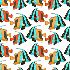 Vector seamless pattern with beautiful fish, coral fish hand drawn colorful illustration. Sketch with black and white masked bannerfish, marine animal