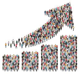 Menschen Gruppe Leute Menschengruppe Erfolg Wirtschaft Wachstum erfolgreich Diagramm Pfeil Business