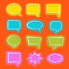 Speech bubbles. Set of 12 speech blisters of yellow blue olive and pink on an orange background. Vector illustration.