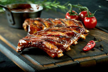 Spicy hot grilled spare ribs from a summer BBQ Wall mural