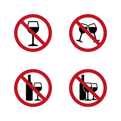 No alcohol Signs set with wine and wineglass