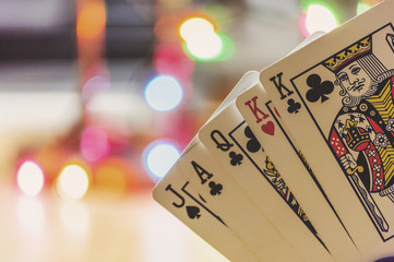 Playing Cards with Bokeh Background