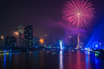 Firework in the Bangkok for New Year celebration, Thailand