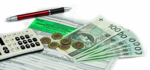 Obraz PIT podatek - formularz deklaracji podatkowe, pieniądze i długopis - fototapety do salonu