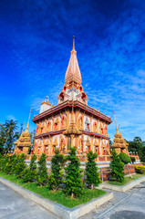 Wat Chaiharam or Wat Chalong in Phuket province of Thailand