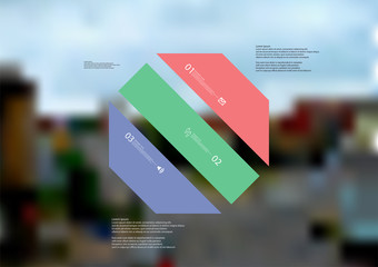 Illustration infographic template with octagon askew divided to three color parts
