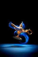 Magic Aladdin / Genie lamp floating on a dark background
