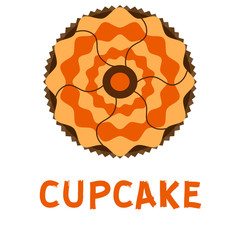 Chocolate baked snack tasty homemade muffin bakery cupcake food vector illystration.