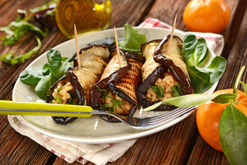 eggplant rolls stuffed with rice and vegetables