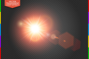 Vector transparent bright red sunlight special lens flare light effect with hexagon elements. Sunrice or sunset, star burst