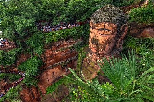 Leshan, China - August 09, 2014: Leshan Buddha park in Leshan, China