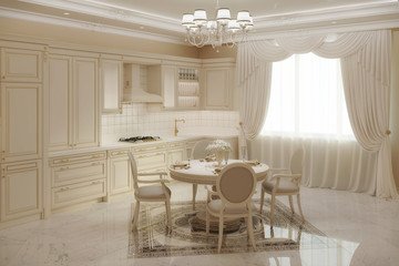 3d illustration of beige classic kitchen with a round table